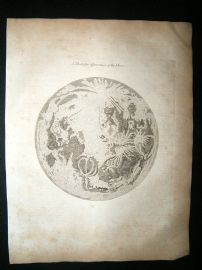 Astronomy Print: 1812 The Moon.  Antique Engraving.